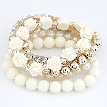 Cute Bead and Roses White Bracelet For Women