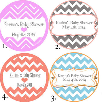 "Chevron Baby Shower Stickers Grey Pink Coral Blue - Mason Jar Stickers 2 or 2.5"" round"