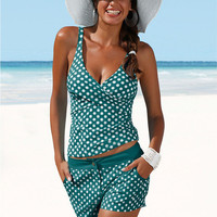 Sexy Womens Padded Two Piece Pattern Dot Large Tankini Halter Crop Top Hang High neck Swimsuit Plus Size Beach Bathing Suit XXL -04101