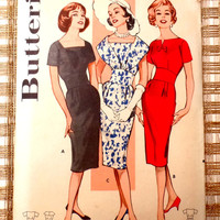 Vintage Pattern 1950s 1960 Butterick 9298 Bust 36 Dress Rockabilly Sewing Wasp Waist Wiggle  New Look