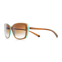 Tiffany & Co. - Tiffany Hearts® rectangular sunglasses in light brown and Tiffany Blue® acetate.