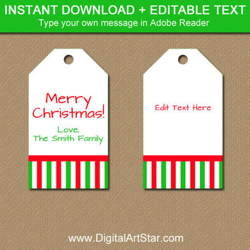 Christmas Gift Tags, Christmas Tags, Holiday Gift Labels, Christmas Gift Labels, Printable Gift Tags, EDITABLE Holiday Party Favor Tags CSV