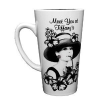 Silver Buffalo XX6735 Radio Days Audrey Hepburn Meet You At Tiffany's, Tall Latte Ceramic Mug, 16 Ounces, Multicolored