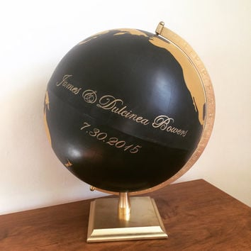 Hand painted wedding globe guest book | hand painted globe | wedding globe | guest book alternative
