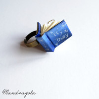 "Tiny Book Blue Ring ""My Diary"". Adjustable ring"