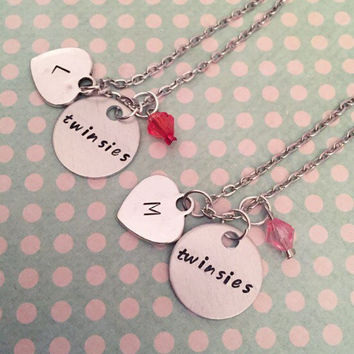 Twinsies Sister Necklaces - Best Friends Forever Jewelry - Sister Jewelry - Twin Jewelry - Personalized Jewelry