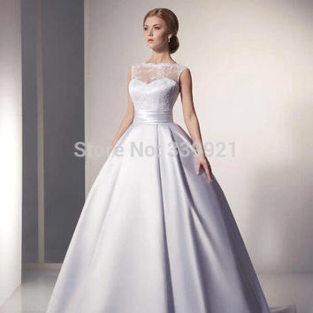 2016 New  Elegant  Bridal Gowns Scoop Ivory White Satin Princess Wedding Dresses 2016 A Line vestido de noiva 2016