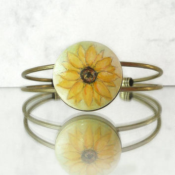 Yellow Sunflower Bangle Bracelet, Hand Pr Bracelet, Handcrafted, Brass, Antique Bronze Color by Artdoraainted Jewelry,  Flower Sunflowe
