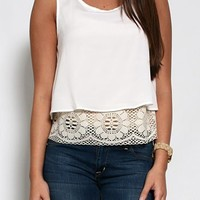 Tank with Crochet Lace Hem