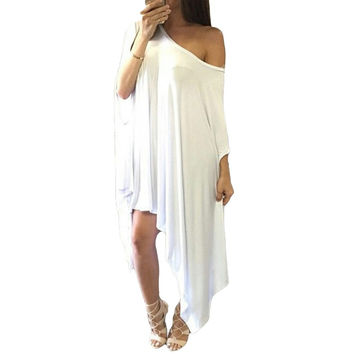 White Tunic Poncho One Off Shoulder Bell Sleeve Loose Asymmetric Dress