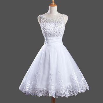 Vestido De Festa Girls Sweet Short Prom Dresses with Pearls Bodice Applaiques Organza Mini Prom Party Gowns Short Cocktail Dress