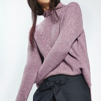 PETITE Oversized Rib Funnel Knitted Jumper - Sale & Offers