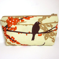 Medium Zipper Pouch  Fabric Pouch Cosmetic Pouch Toiletry Bag Bird on a Branch