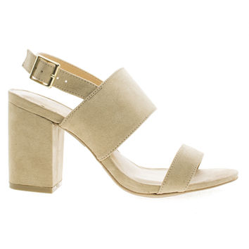 Susie30 Natural F-Suede by Wild Diva, Open Toe Sling Back Heeled Mule Sandals