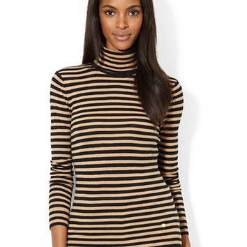 Lauren Ralph Lauren Petite Striped Turtleneck Sweater