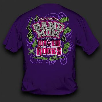 Sweet Thing Funny Proud Band Mom My Kid Rocks Purple Girlie Bright T-Shirt