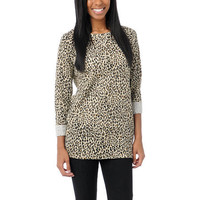 Obey Girls Echo Mountain Leopard Print Crewneck Sweatshirt at Zumiez : PDP