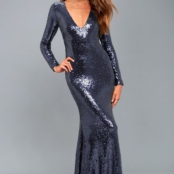 Capture the Moon Navy Blue Long Sleeve Sequin Maxi Dress