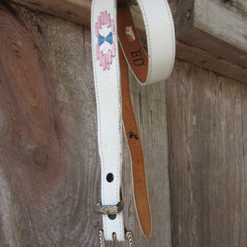 80s White Nocona Southwestern Belt, 29-34 in, 76-86 cm // White Inlay Lace Leather Belt // Slim Western Belt