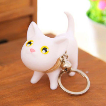 Free Shipping Cute Style Hot Selling Animal Vinyl Toy Lovely Cute Cat Kitten Keychain Keyring