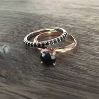 Black Diamond Wedding Band in 14k White Gold, Prong Set Band, 1/4 carat Black Diamonds, Size US 6 (ring sizing available)