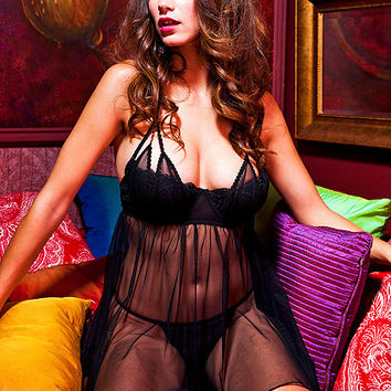 Sheer Seduction Shelf Bra Babydoll