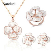 Nandudu Blooming Flower Pendant Necklace Ring Earrings Jewelry Sets Women Girl Whole Set Jewelry Gift R681 E36 CN255