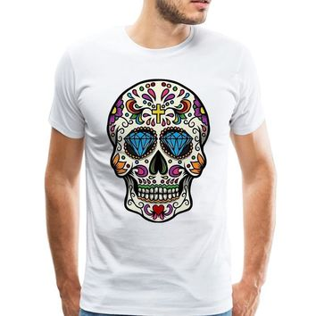 Men T Shirt Mexican Skull Tee Printed Sugar Skull