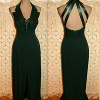 Vintage Dark Green Formal Pageant Prom Dress 80s Evening Gown Sexy Formal Dress Floor Length Open Back Size 12 Dress Large Womens Clothing