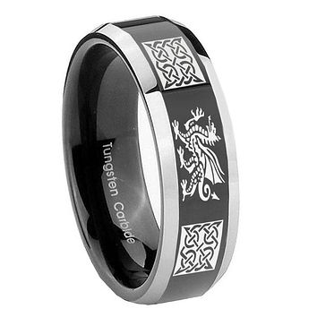 10MM Beveled Two Tone Multiple Dragon Celtic Shiny Black Middle Tungsten Men's Ring