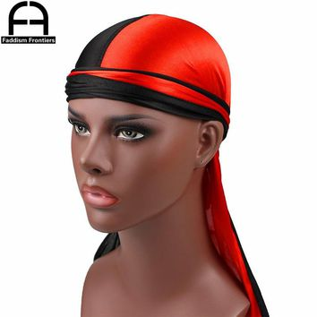 Luxury Men's Silk Patchwork Durags Bandanas Turban Hat Satin Durag Biker Hat Headwear Headband Hair Accessories