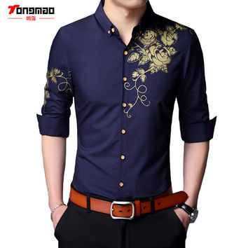 2017 Spring and Autumn Men's Casual Print Shirt Slim Was Thin Long-sleeved Men's Business Shirt