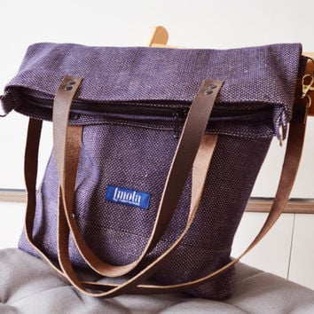 Large Fold Over Canvas Tote Bag Ping Casual School Blue