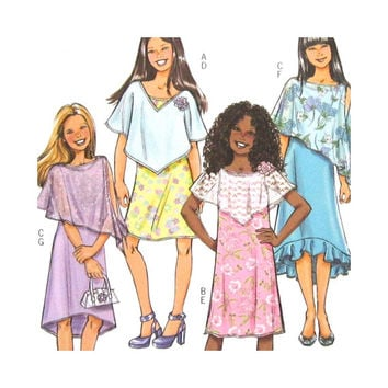 Uncut Girls Sewing Pattern Butterick 4681 B4681 Poncho and Sleeveless Dress Rated Very Easy Size 7 8 10 12 14