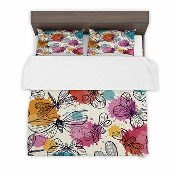 Duvet Cover + 2 Pillow Sham Covers Dragonflies