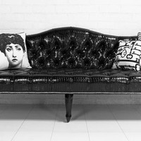 www.roomservicestore.com - Mademoiselle Sofa in Faux Black Croc Patent Leather