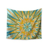 """Art Love Passion """"Here Comes The Sun"""" Blue Yellow Wall Tapestry"""
