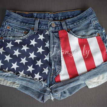 Levi's High waisted denim shorts American flag US Stars and Stripes Patriotic White Red and Blue Distressed Tumblr Hipster Clothing