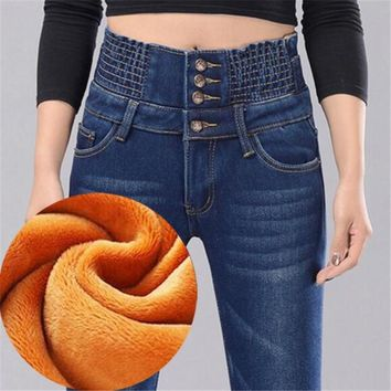 WKOUD Winter Fleece Jeans Mujer Women 4 Button Warm Denim Pencil Pants Fashion High Waist Thick Trousers Streetpants P8552