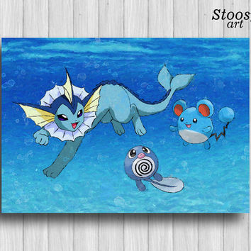 vaporeon pokemon poster poliwag marill pokemon watercolor