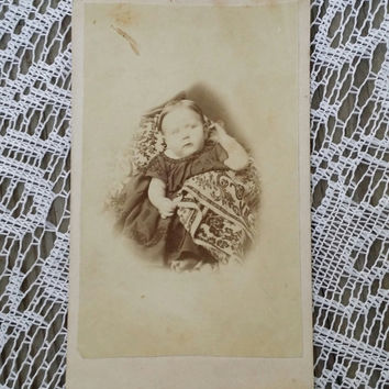 Victorian CDV ghostly baby with hidden mother