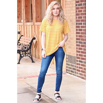 Keyhole Back Leopard Accent Top {Mustard}