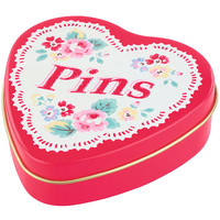 Knitting, Sewing & Crafts | Trailing Floral Heart Pin Tin | CathKidston