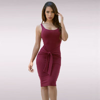 O-neck Tie Front Knitted Ladies Casual Dress Sexy Bodycon Dress Midi Party Women Dresses Night Sexy Club Dress Vestidos