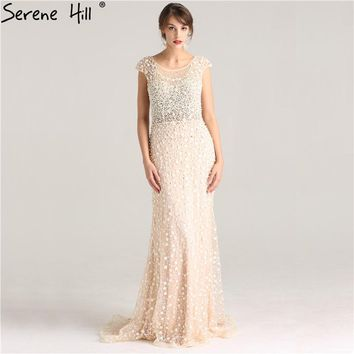 Pearls Crystal Sleeveless Luxury Sexy Evening Gowns Elegant Fashion Mermaid Tulle Evening Dress