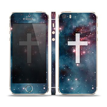 The Vector White Cross v2 over Red Nebula Skin Set for the Apple iPhone 5s