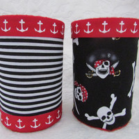 Set of 2 Nautical Pirate Themed Pencil Holders Organizers Black and White Stripes Skull and Crossbones Baby Nursery Office Room Decor