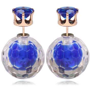 Gum Tee Mise en Style Tribal Double Bead Earrings - Matching Hidden Gem Royal Blue
