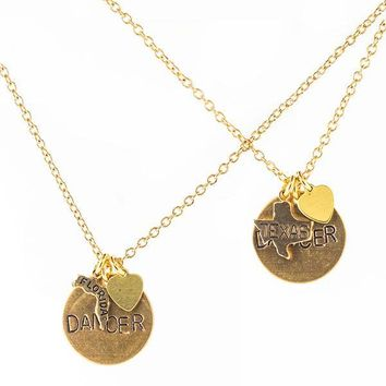 """I Heart My State"" Dancer Necklaces - Hand-Stamped Brass"
