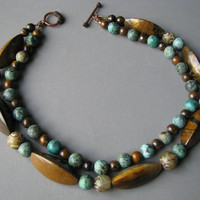Multi Strand Gemstone Necklace with Turquoise & Brown Tiger Iron - Beaded Jewelry
